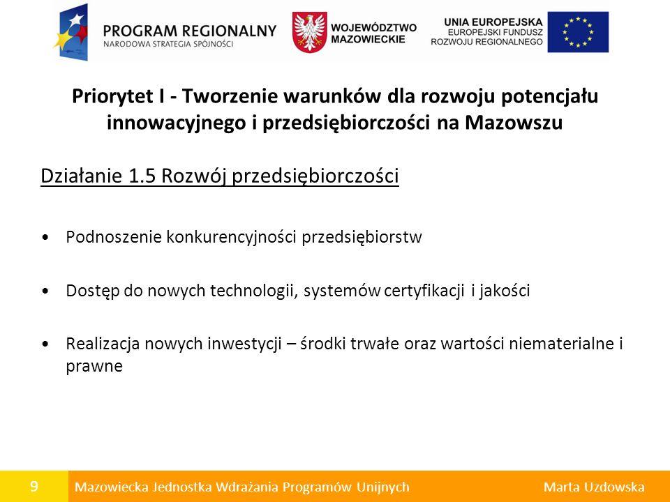 9 Mazowiecka Jednostka Wdrażania Programów UnijnychMarta Uzdowska Priorytet I - Tworzenie warunków dla rozwoju potencjału innowacyjnego i przedsiębior