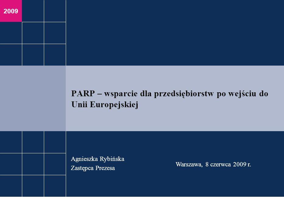 2009 Agnieszka Rybińska Zastępca Prezesa Warszawa, 8 czerwca 2009 r. PARP – wsparcie dla przedsiębiorstw po wejściu do Unii Europejskiej