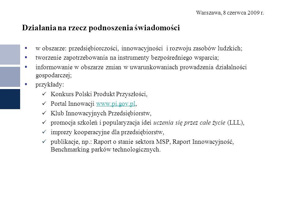 Warszawa, 8 czerwca 2009 r. Działania na rzecz podnoszenia świadomości w obszarze: przedsiębiorczości, innowacyjności i rozwoju zasobów ludzkich; twor