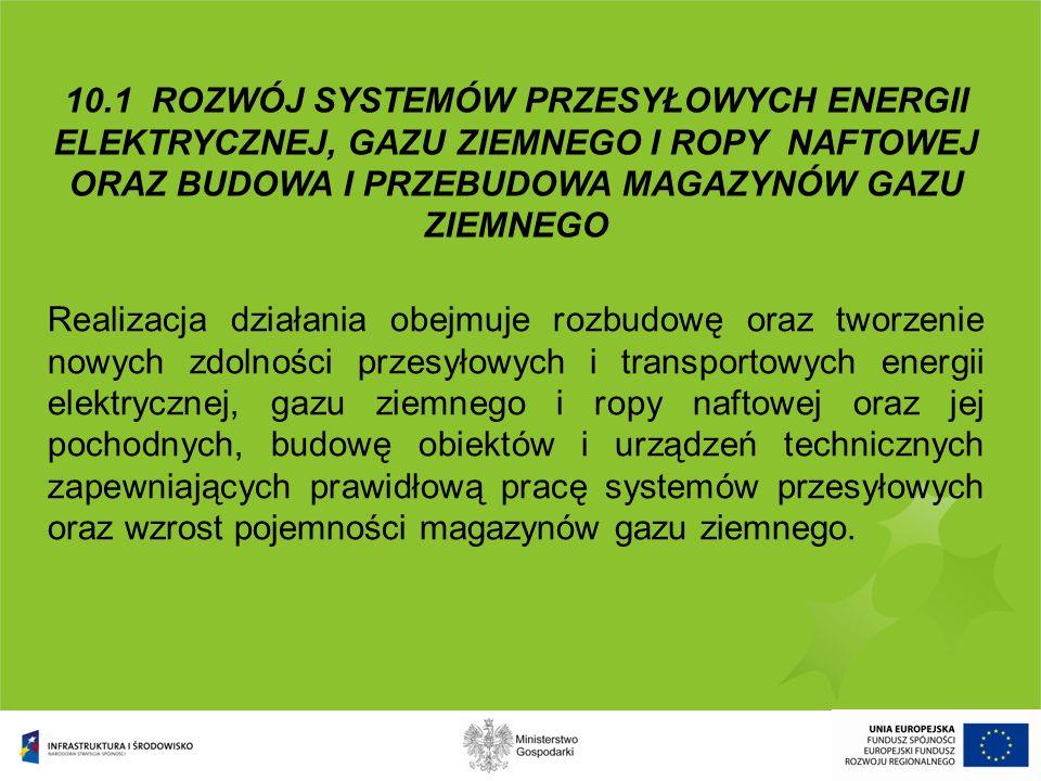 10.1 ROZWÓJ SYSTEMÓW PRZESYŁOWYCH ENERGII ELEKTRYCZNEJ, GAZU ZIEMNEGO I ROPY NAFTOWEJ ORAZ BUDOWA I PRZEBUDOWA MAGAZYNÓW GAZU ZIEMNEGO Realizacja dzia