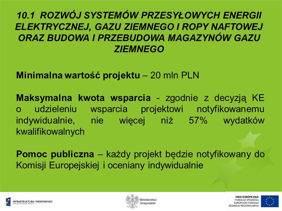 Minimalna wartość projektu – 20 mln PLN Maksymalna kwota wsparcia - zgodnie z decyzją KE o udzieleniu wsparcia projektowi notyfikowanemu indywidualnie