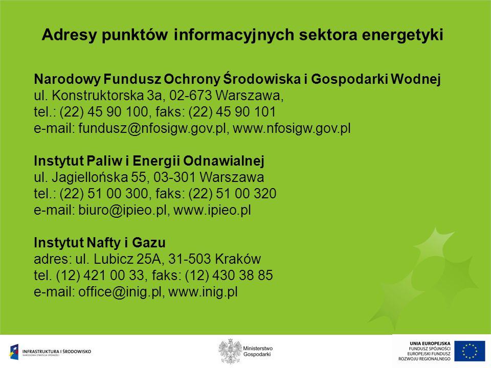 Adresy punktów informacyjnych sektora energetyki Narodowy Fundusz Ochrony Środowiska i Gospodarki Wodnej adres: ul. Konstruktorska 3a, 02-673 Warszawa