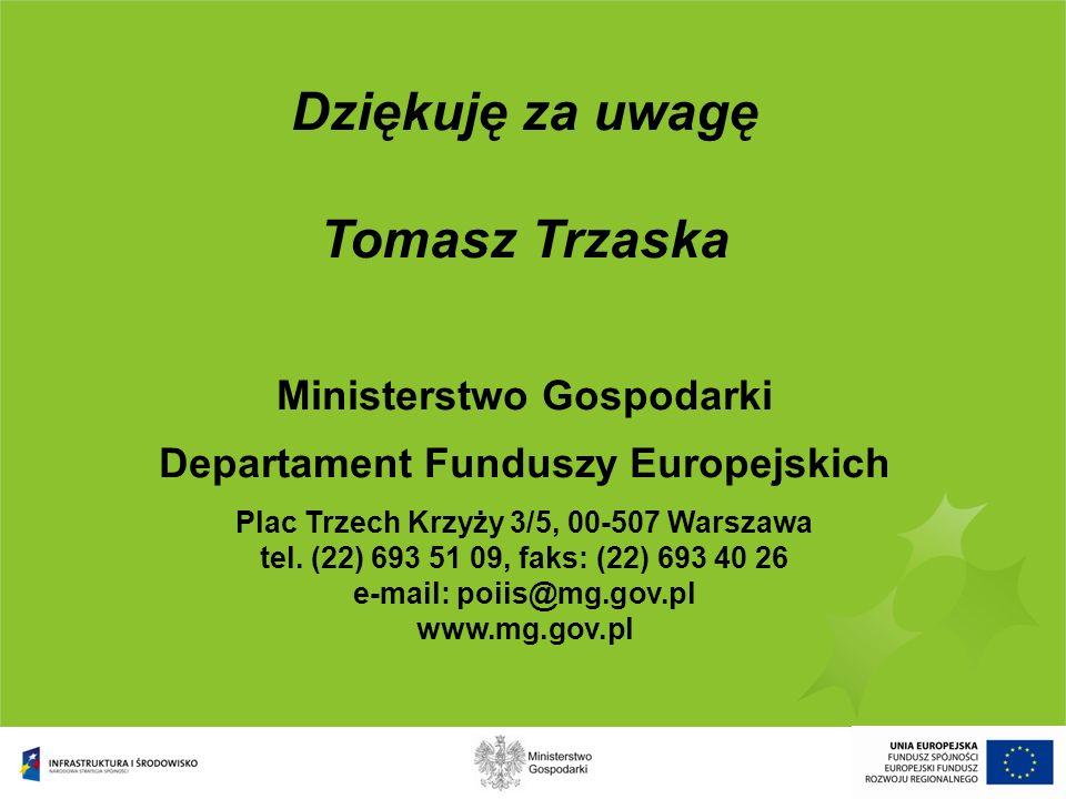 Dziękuję za uwagę Tomasz Trzaska Ministerstwo Gospodarki Departament Funduszy Europejskich Plac Trzech Krzyży 3/5, 00-507 Warszawa tel. (22) 693 51 09