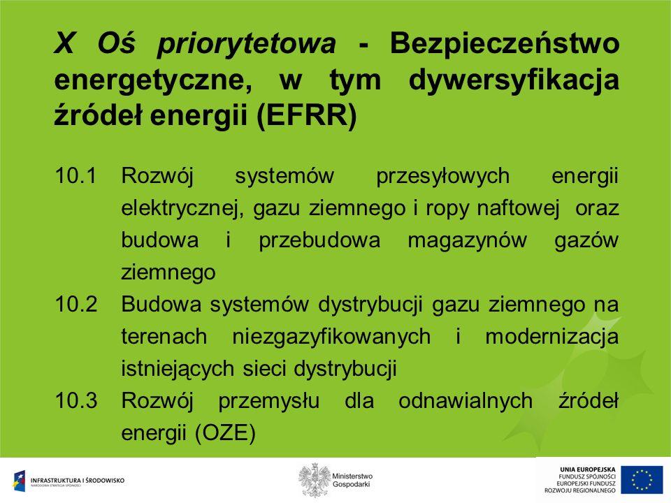 X Oś priorytetowa - Bezpieczeństwo energetyczne, w tym dywersyfikacja źródeł energii (EFRR) 10.1Rozwój systemów przesyłowych energii elektrycznej, gaz