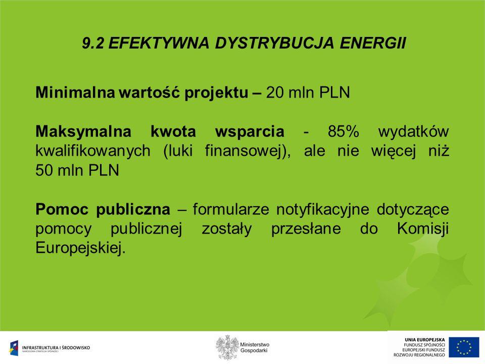 Minimalna wartość projektu – 20 mln PLN Maksymalna kwota wsparcia - 85% wydatków kwalifikowanych (luki finansowej), ale nie więcej niż 50 mln PLN Pomo