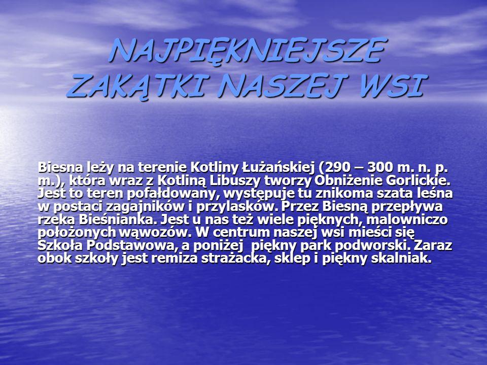 NAJPIĘKNIEJSZE ZAKĄTKI NASZEJ WSI Biesna leży na terenie Kotliny Łużańskiej (290 – 300 m.