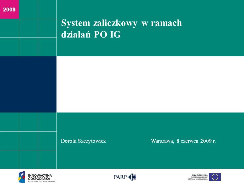 2009 System zaliczkowy w ramach działań PO IG Dorota SzczytowiczWarszawa, 8 czerwca 2009 r.