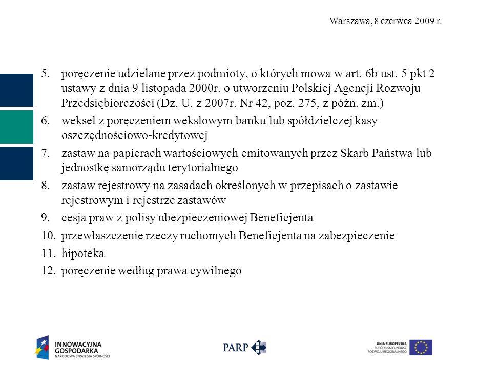 Warszawa, 8 czerwca 2009 r. 5.poręczenie udzielane przez podmioty, o których mowa w art.