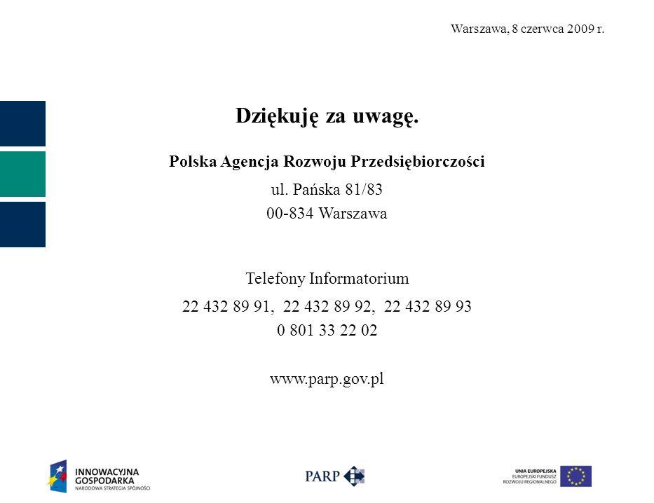 Warszawa, 8 czerwca 2009 r. Dziękuję za uwagę. Polska Agencja Rozwoju Przedsiębiorczości ul.