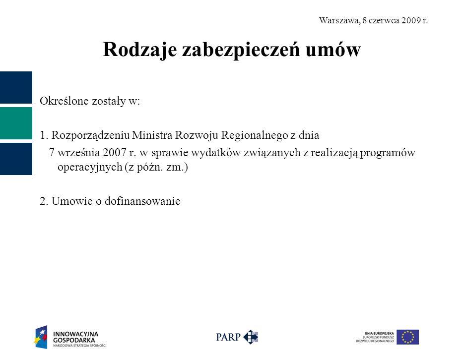 Warszawa, 8 czerwca 2009 r. Rodzaje zabezpieczeń umów Określone zostały w: 1.