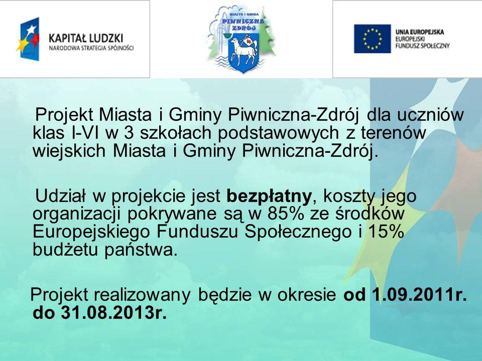Celem głównym projektu jest podniesienie jakości kształcenia w klasach I-VI w 3 szkołach podstawowych z terenów wiejskich Miasta i Gminy Piwniczna-Zdrój.