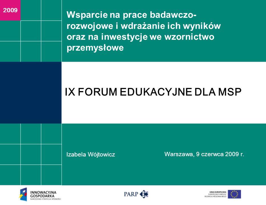 Wsparcie na prace badawczo- rozwojowe i wdrażanie ich wyników oraz na inwestycje we wzornictwo przemysłowe Izabela Wójtowicz Warszawa, 9 czerwca 2009 r.