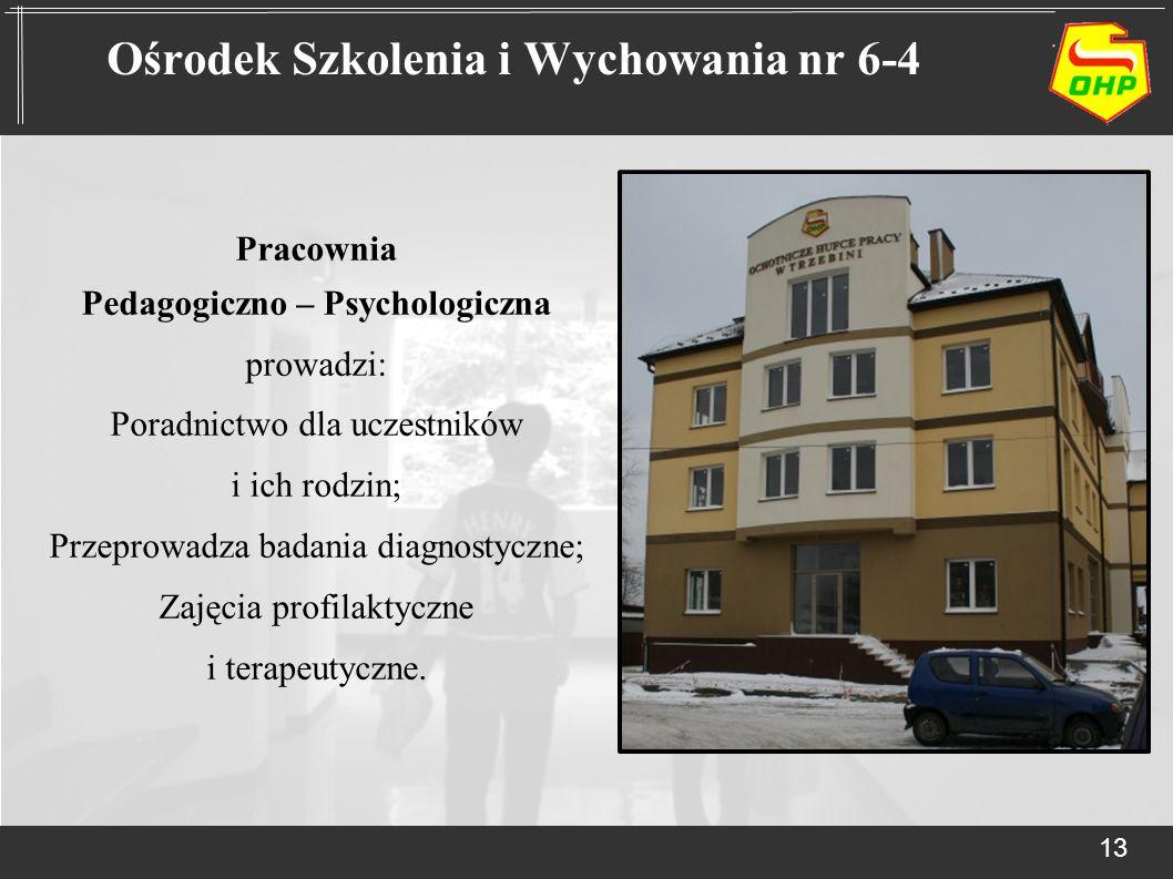 Pracownia Pedagogiczno – Psychologiczna prowadzi: Poradnictwo dla uczestników i ich rodzin; Przeprowadza badania diagnostyczne; Zajęcia profilaktyczne