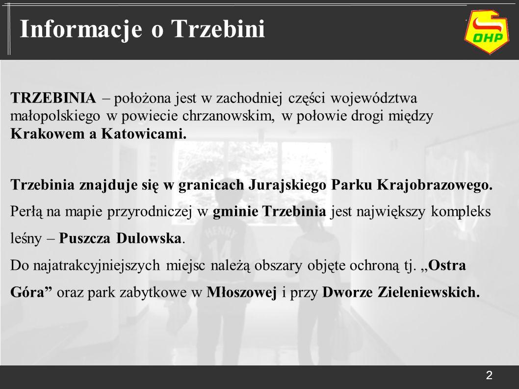 TRZEBINIA – położona jest w zachodniej części województwa małopolskiego w powiecie chrzanowskim, w połowie drogi między Krakowem a Katowicami. Trzebin