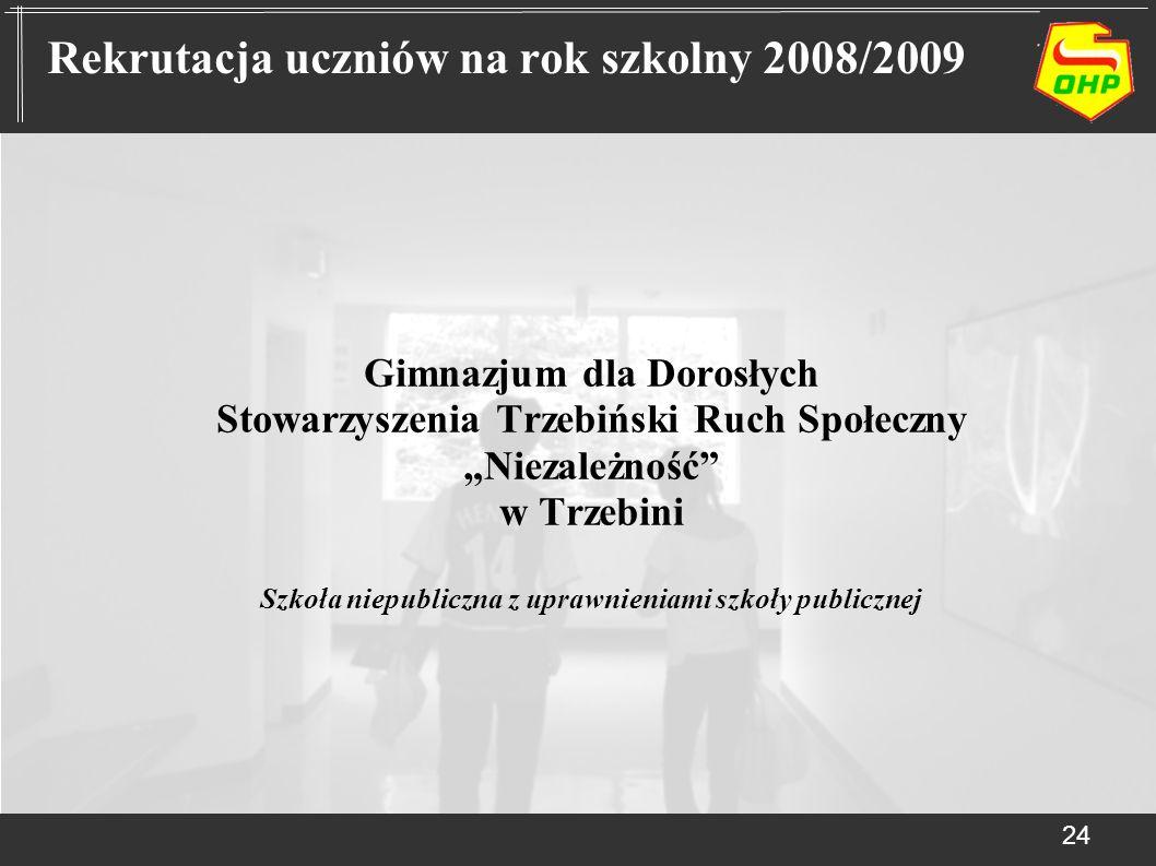 Gimnazjum dla Dorosłych Stowarzyszenia Trzebiński Ruch Społeczny Niezależność w Trzebini Szkoła niepubliczna z uprawnieniami szkoły publicznej 24 Rekr