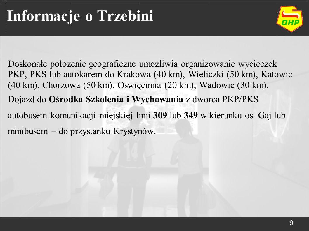 Doskonałe położenie geograficzne umożliwia organizowanie wycieczek PKP, PKS lub autokarem do Krakowa (40 km), Wieliczki (50 km), Katowic (40 km), Chor
