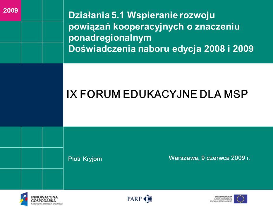 Działania 5.1 Wspieranie rozwoju powiązań kooperacyjnych o znaczeniu ponadregionalnym Doświadczenia naboru edycja 2008 i 2009 Piotr Kryjom Warszawa, 9 czerwca 2009 r.