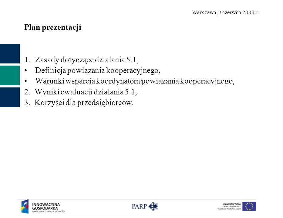 Warszawa, 9 czerwca 2009 r. Plan prezentacji 1.Zasady dotyczące działania 5.1, Definicja powiązania kooperacyjnego, Warunki wsparcia koordynatora powi