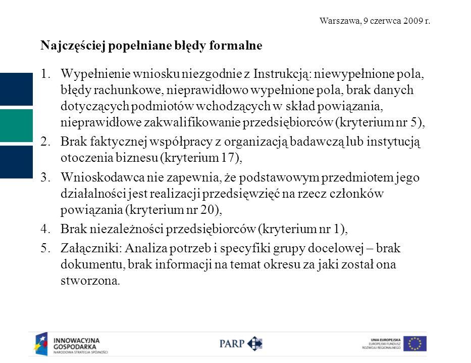 Warszawa, 9 czerwca 2009 r. Najczęściej popełniane błędy formalne 1.Wypełnienie wniosku niezgodnie z Instrukcją: niewypełnione pola, błędy rachunkowe,
