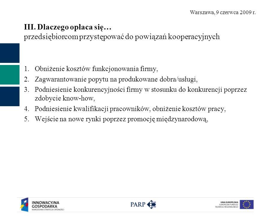 Warszawa, 9 czerwca 2009 r. III. Dlaczego opłaca się… przedsiębiorcom przystępować do powiązań kooperacyjnych 1.Obniżenie kosztów funkcjonowania firmy