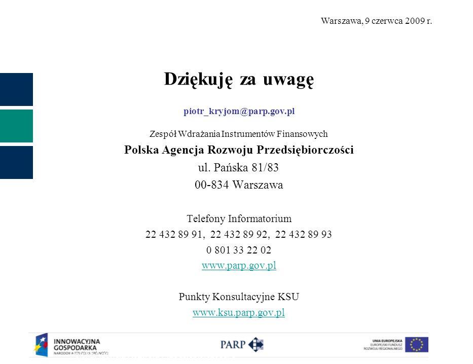 Warszawa, 9 czerwca 2009 r. Dziękuję za uwagę piotr_kryjom@parp.gov.pl Zespół Wdrażania Instrumentów Finansowych Polska Agencja Rozwoju Przedsiębiorcz