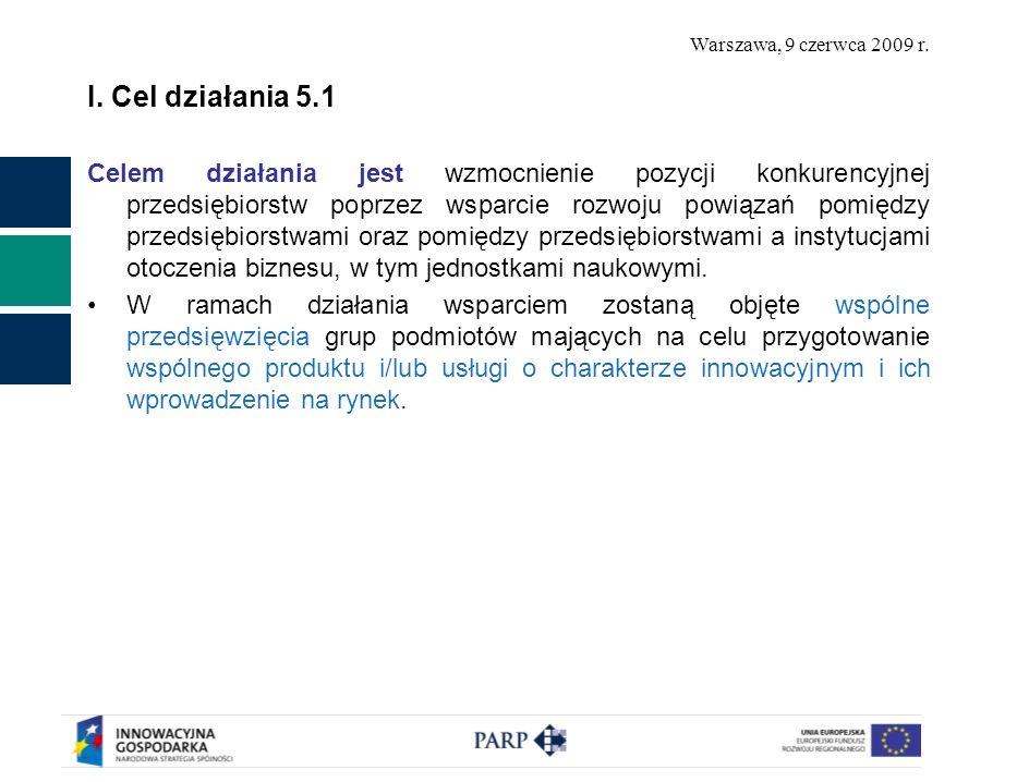 Warszawa, 9 czerwca 2009 r. I. Cel działania 5.1 Celem działania jest wzmocnienie pozycji konkurencyjnej przedsiębiorstw poprzez wsparcie rozwoju powi