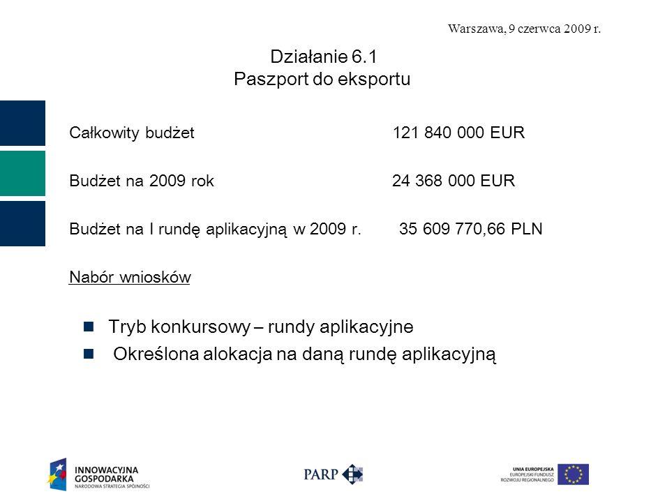 Warszawa, 9 czerwca 2009 r. Działanie 6.1 Paszport do eksportu Całkowity budżet 121 840 000 EUR Budżet na 2009 rok 24 368 000 EUR Budżet na I rundę ap