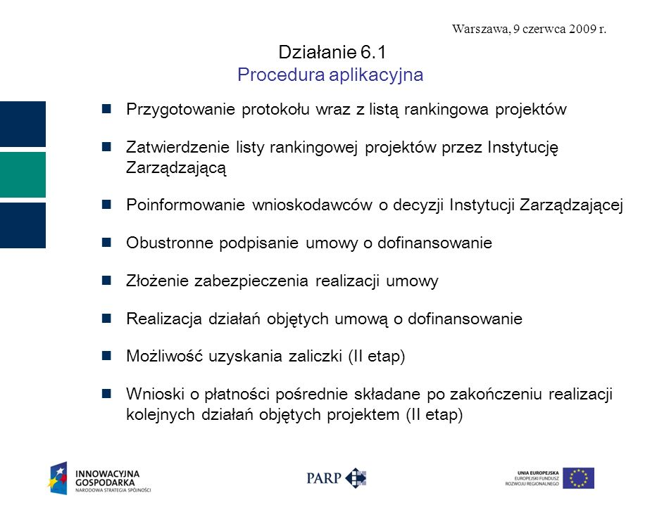 Warszawa, 9 czerwca 2009 r. Działanie 6.1 Procedura aplikacyjna Przygotowanie protokołu wraz z listą rankingowa projektów Zatwierdzenie listy rankingo