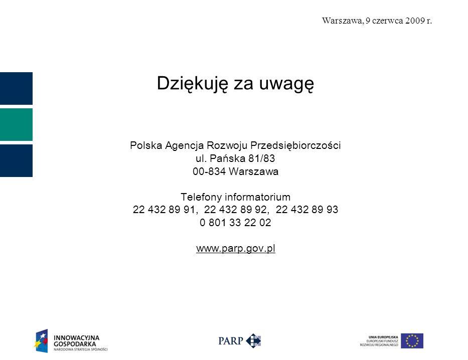 Warszawa, 9 czerwca 2009 r. Dziękuję za uwagę Polska Agencja Rozwoju Przedsiębiorczości ul. Pańska 81/83 00-834 Warszawa Telefony informatorium 22 432