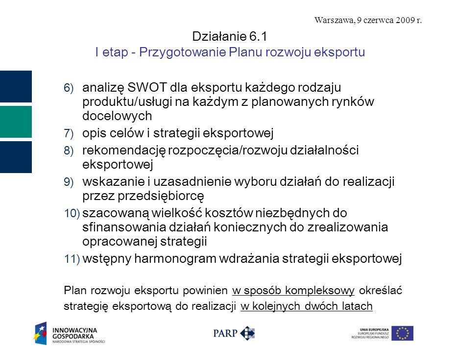 Warszawa, 9 czerwca 2009 r. Działanie 6.1 I etap - Przygotowanie Planu rozwoju eksportu 6) analizę SWOT dla eksportu każdego rodzaju produktu/usługi n