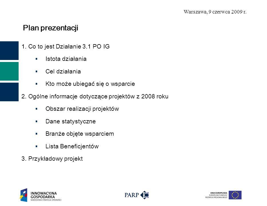 Warszawa, 9 czerwca 2009 r. Co to jest Działanie 3.1 PO IG Inicjowanie działalności innowacyjnej