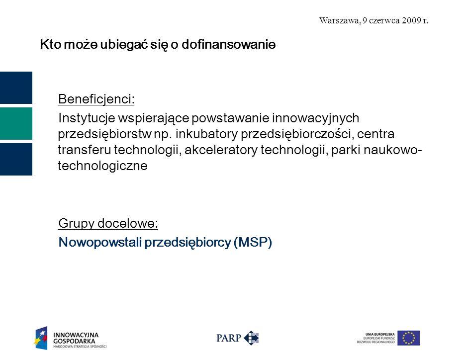 Warszawa, 9 czerwca 2009 r. Ogólne informacje dotyczące projektów z 2008 roku