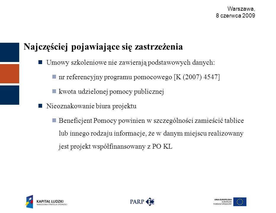 Warszawa, 8 czerwca 2009 Najczęściej pojawiające się zastrzeżenia Umowy szkoleniowe nie zawierają podstawowych danych: nr referencyjny programu pomocowego [K (2007) 4547] kwota udzielonej pomocy publicznej Nieoznakowanie biura projektu Beneficjent Pomocy powinien w szczególności zamieścić tablice lub innego rodzaju informacje, że w danym miejscu realizowany jest projekt współfinansowany z PO KL