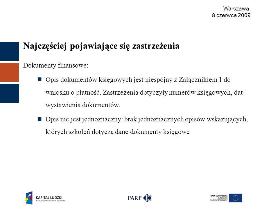 Warszawa, 8 czerwca 2009 Najczęściej pojawiające się zastrzeżenia Dokumenty finansowe: Opis dokumentów księgowych jest niespójny z Załącznikiem 1 do wniosku o płatność.