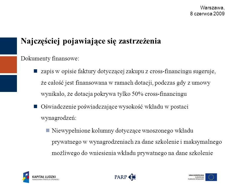 Warszawa, 8 czerwca 2009 Najczęściej pojawiające się zastrzeżenia Dokumenty finansowe: zapis w opisie faktury dotyczącej zakupu z cross-financingu sugeruje, że całość jest finansowana w ramach dotacji, podczas gdy z umowy wynikało, że dotacja pokrywa tylko 50% cross-financingu Oświadczenie poświadczające wysokość wkładu w postaci wynagrodzeń: Niewypełnione kolumny dotyczące wnoszonego wkładu prywatnego w wynagrodzeniach za dane szkolenie i maksymalnego możliwego do wniesienia wkładu prywatnego na dane szkolenie