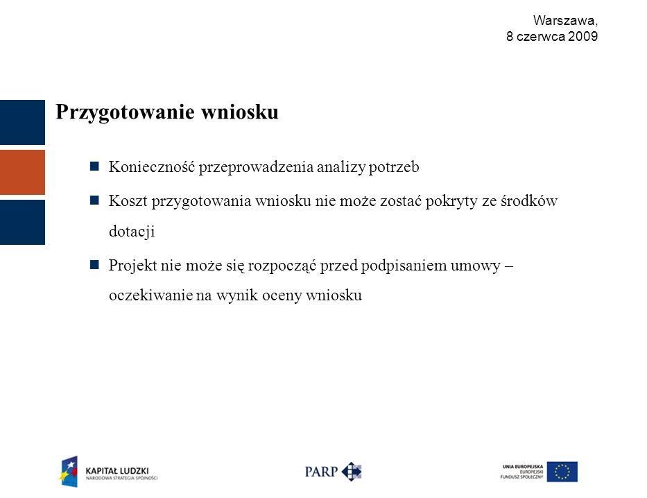 Warszawa, 8 czerwca 2009 Przygotowanie wniosku Konieczność przeprowadzenia analizy potrzeb Koszt przygotowania wniosku nie może zostać pokryty ze środków dotacji Projekt nie może się rozpocząć przed podpisaniem umowy – oczekiwanie na wynik oceny wniosku