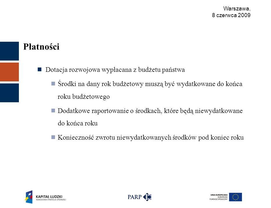 Warszawa, 8 czerwca 2009 Płatności Dotacja rozwojowa wypłacana z budżetu państwa Środki na dany rok budżetowy muszą być wydatkowane do końca roku budżetowego Dodatkowe raportowanie o środkach, które będą niewydatkowane do końca roku Konieczność zwrotu niewydatkowanych środków pod koniec roku