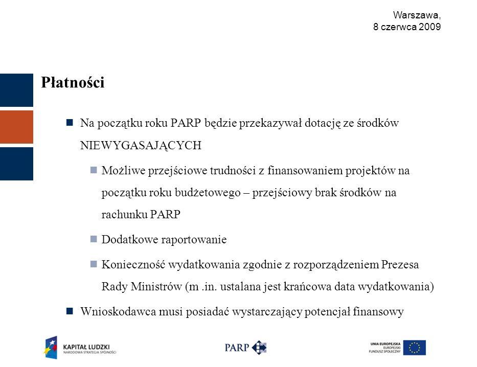 Warszawa, 8 czerwca 2009 Płatności Na początku roku PARP będzie przekazywał dotację ze środków NIEWYGASAJĄCYCH Możliwe przejściowe trudności z finansowaniem projektów na początku roku budżetowego – przejściowy brak środków na rachunku PARP Dodatkowe raportowanie Konieczność wydatkowania zgodnie z rozporządzeniem Prezesa Rady Ministrów (m.in.