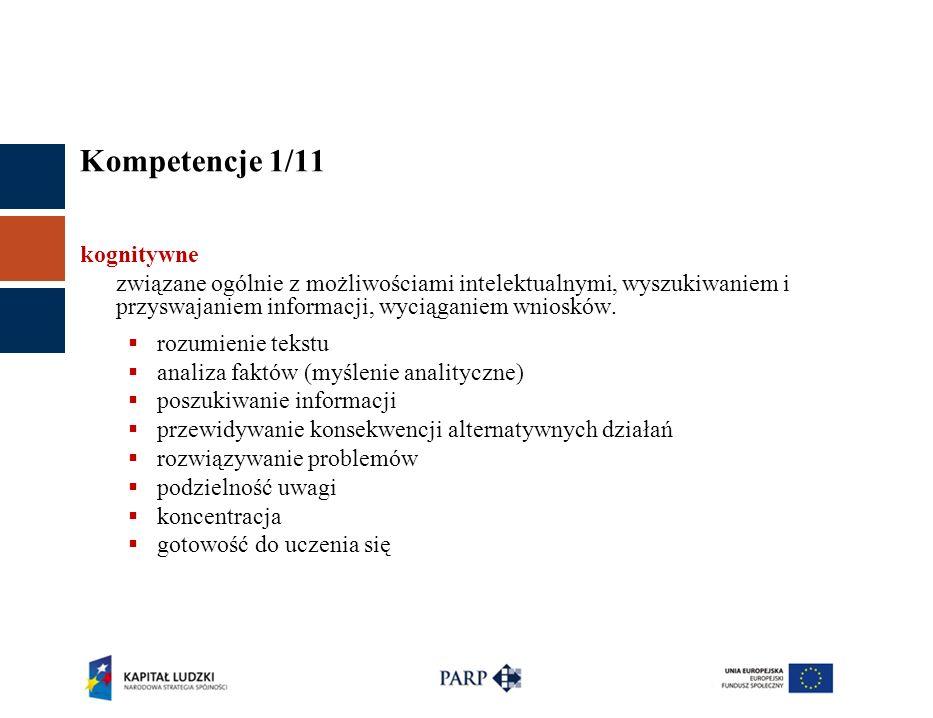 Kompetencje 1/11 kognitywne związane ogólnie z możliwościami intelektualnymi, wyszukiwaniem i przyswajaniem informacji, wyciąganiem wniosków.