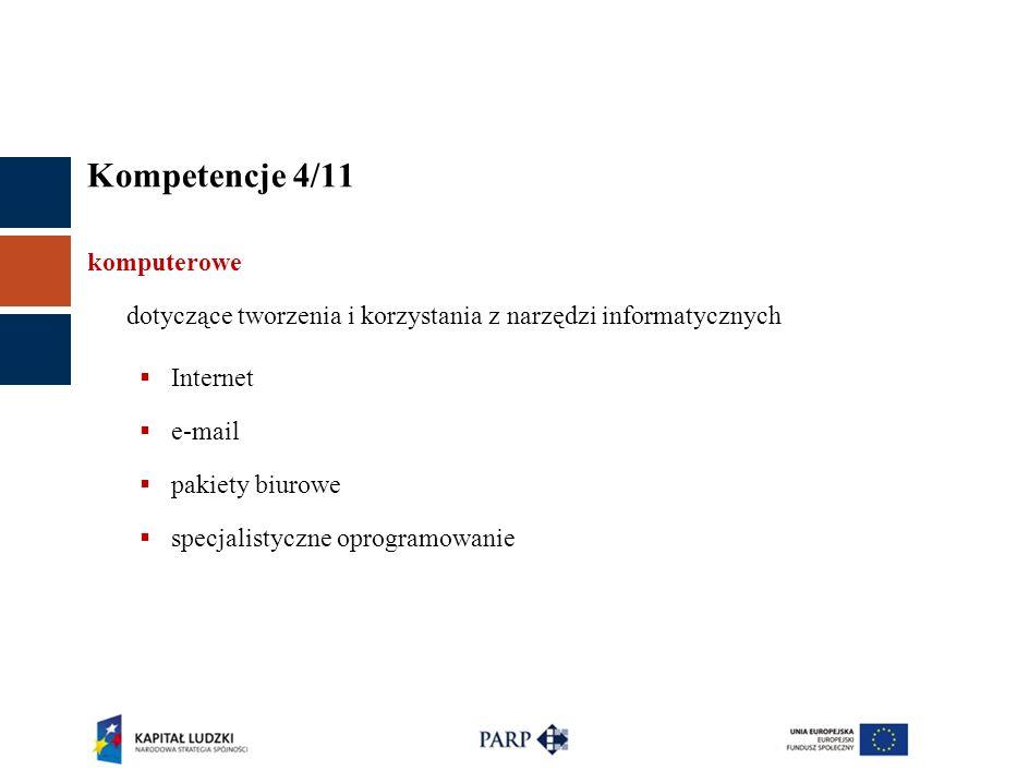 Kompetencje 4/11 komputerowe dotyczące tworzenia i korzystania z narzędzi informatycznych Internet e-mail pakiety biurowe specjalistyczne oprogramowanie