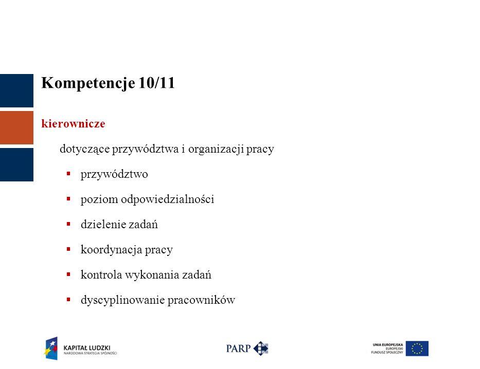 Kompetencje 10/11 kierownicze dotyczące przywództwa i organizacji pracy przywództwo poziom odpowiedzialności dzielenie zadań koordynacja pracy kontrola wykonania zadań dyscyplinowanie pracowników