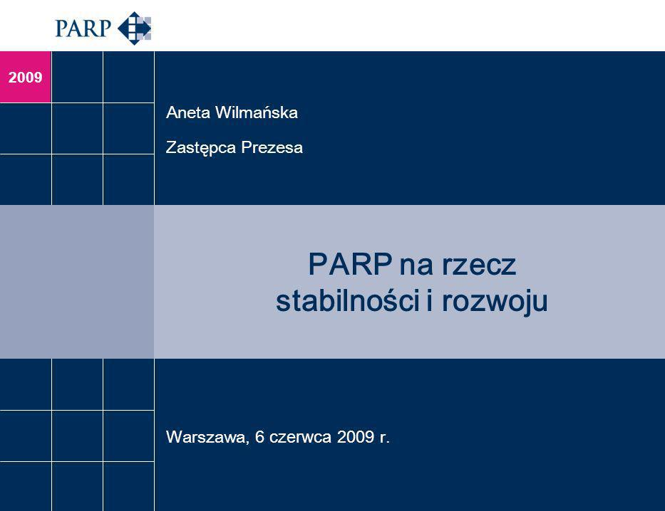 2009 PARP na rzecz stabilności i rozwoju Aneta Wilmańska Zastępca Prezesa Warszawa, 6 czerwca 2009 r.