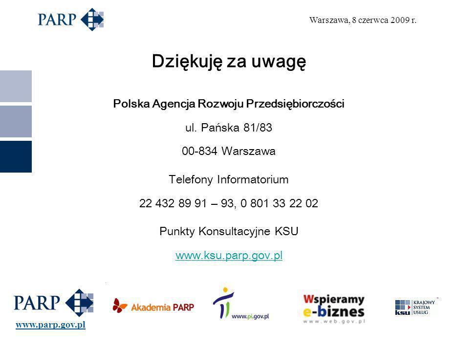 Warszawa, 8 czerwca 2009 r. Dziękuję za uwagę Polska Agencja Rozwoju Przedsiębiorczości ul.