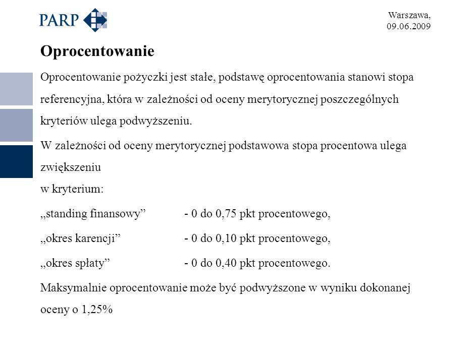 Warszawa, 09.06.2009 Oprocentowanie Oprocentowanie pożyczki jest stałe, podstawę oprocentowania stanowi stopa referencyjna, która w zależności od ocen