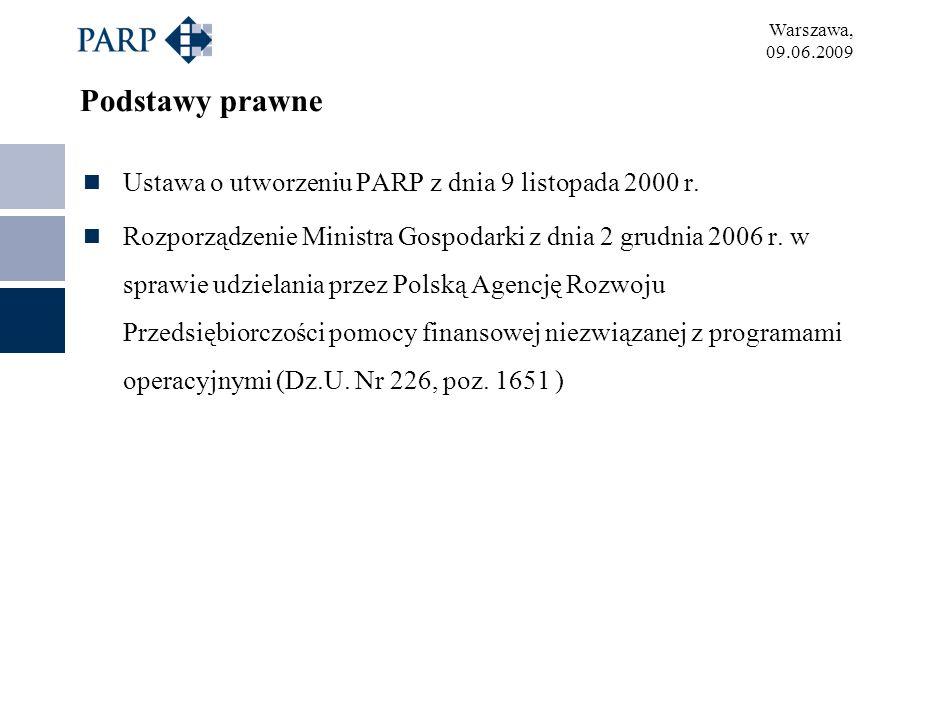 Warszawa, 09.06.2009 Podstawy prawne Ustawa o utworzeniu PARP z dnia 9 listopada 2000 r. Rozporządzenie Ministra Gospodarki z dnia 2 grudnia 2006 r. w