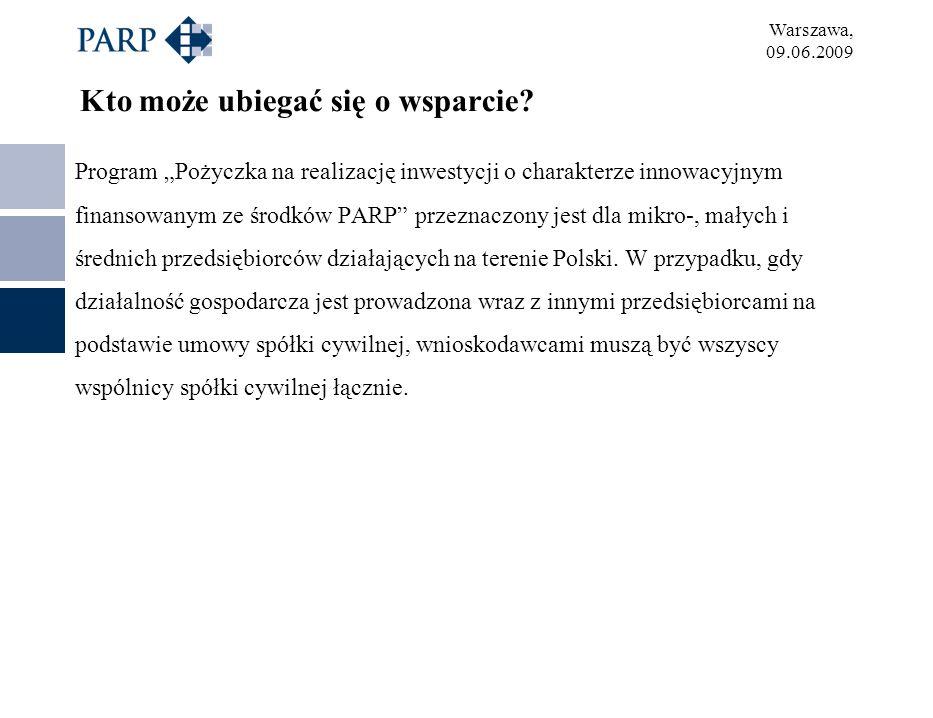Warszawa, 09.06.2009 Kto może ubiegać się o wsparcie? Program Pożyczka na realizację inwestycji o charakterze innowacyjnym finansowanym ze środków PAR