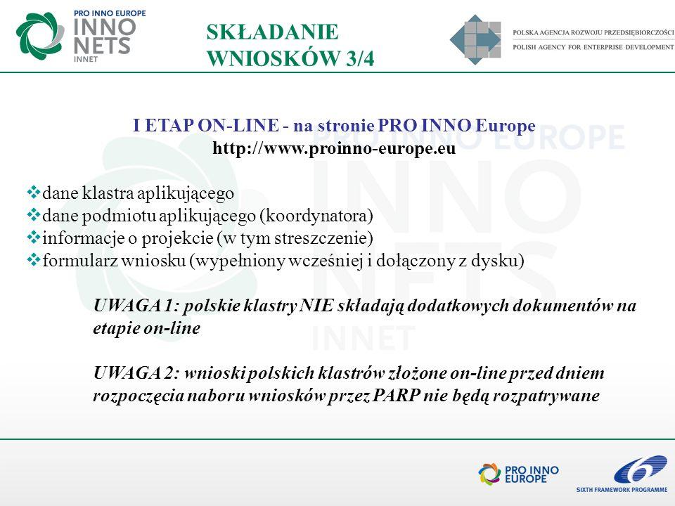I ETAP ON-LINE - na stronie PRO INNO Europe http://www.proinno-europe.eu dane klastra aplikującego dane podmiotu aplikującego (koordynatora) informacj