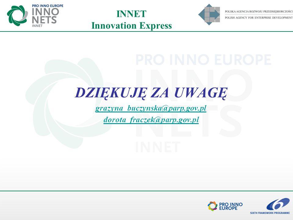 INNET Innovation Express DZIĘKUJĘ ZA UWAGĘ grazyna_buczynska@parp.gov.pl dorota_fraczek@parp.gov.pl