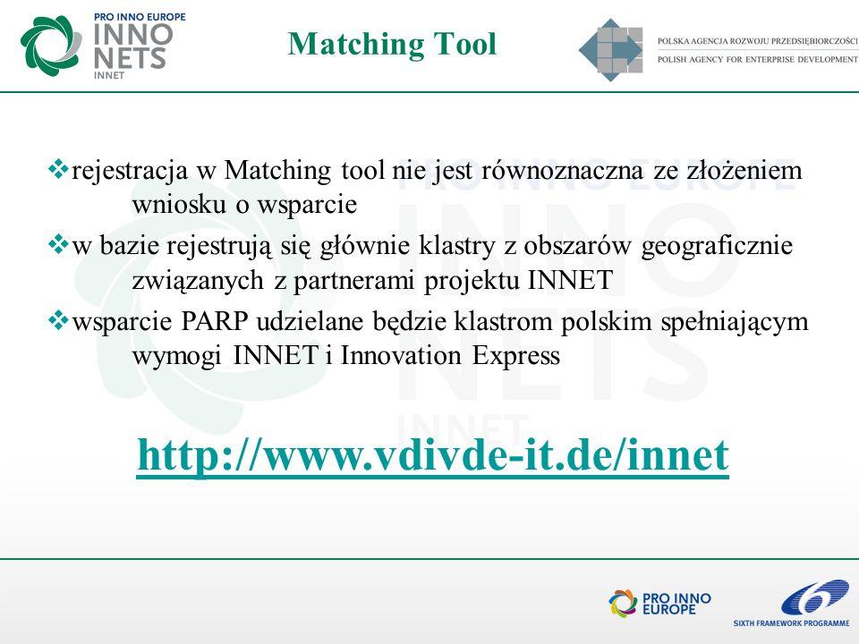 Matching Tool rejestracja w Matching tool nie jest równoznaczna ze złożeniem wniosku o wsparcie w bazie rejestrują się głównie klastry z obszarów geog
