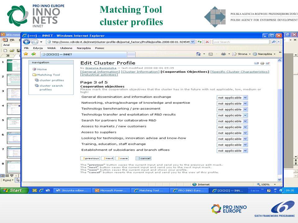 I ETAP ON-LINE - na stronie PRO INNO Europe http://www.proinno-europe.eu dane klastra aplikującego dane podmiotu aplikującego (koordynatora) informacje o projekcie (w tym streszczenie) formularz wniosku (wypełniony wcześniej i dołączony z dysku) UWAGA 1: polskie klastry NIE składają dodatkowych dokumentów na etapie on-line UWAGA 2: wnioski polskich klastrów złożone on-line przed dniem rozpoczęcia naboru wniosków przez PARP nie będą rozpatrywane SKŁADANIE WNIOSKÓW 3/4
